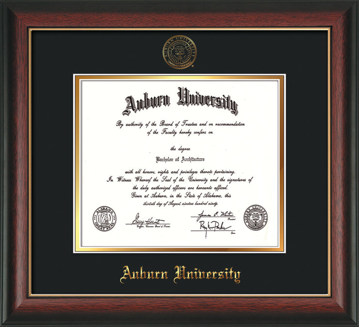Image of Auburn University Diploma Frame - Rosewood w/Gold Lip - w/Embossed Seal & Name - Black on Gold mat