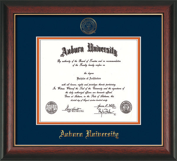 image of Auburn University Diploma Frame - Rosewood w/Gold Lip - w/Embossed Seal & Name - Navy on Orange mat
