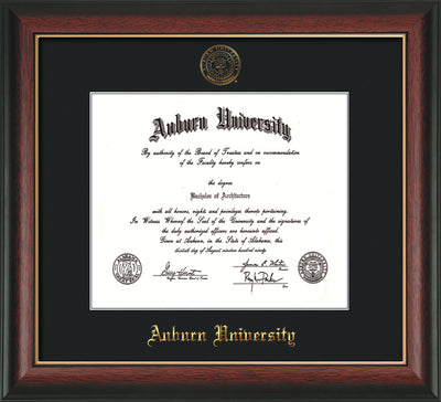 Image of Auburn University Diploma Frame - Rosewood w/Gold Lip - w/Embossed Seal & Name - Single Black Mat