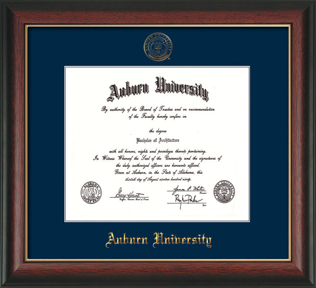 Image of Auburn University Diploma Frame - Rosewood w/Gold Lip - w/Embossed Seal & Name - Single Navy Mat