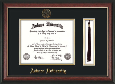Image of Auburn University Diploma Frame - Rosewood w/Gold Lip - w/Embossed Seal & Name - Tassel Holder - Black on Gold mat