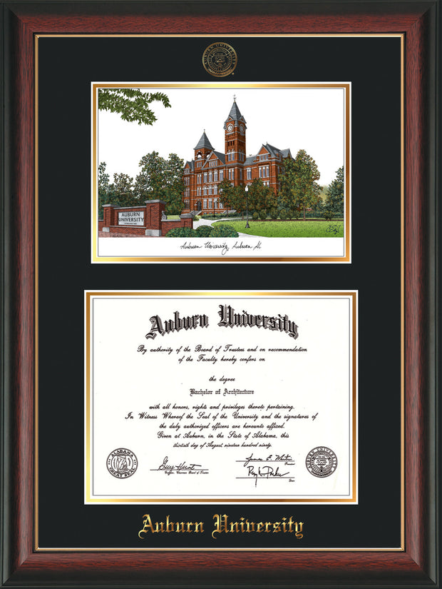 Image of Auburn University Diploma Frame - Rosewood w/Gold Lip - w/Embossed Seal & Name - Campus Watercolor - Black on Gold mat