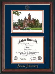 Image of Auburn University Diploma Frame - Rosewood w/Gold Lip - w/Embossed Seal & Name - Campus Watercolor - Navy on Orange mat