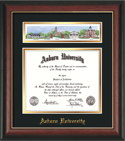Image of Auburn University Diploma Frame - Rosewood w/Gold Lip - w/Embossed School Name Only - Campus Collage - Black on Gold mat