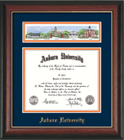 Image of Auburn University Diploma Frame - Rosewood w/Gold Lip - w/Embossed School Name Only - Campus Collage - Navy on Orange mat