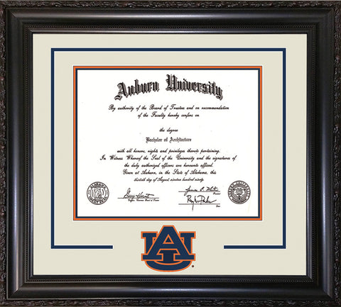 Image of Auburn University Diploma Frame - Vintage Black Scoop - w/Laser AU Logo Cutout - Cream on Navy on Orange mat