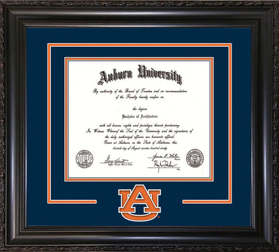 Image of Auburn University Diploma Frame - Vintage Black Scoop - w/Laser AU Logo Cutout - Navy on Orange mat