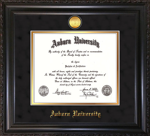Image of Auburn University Diploma Frame - Vintage Black Scoop - w/24k Gold-plated Medallion - Black Suede on Gold mat