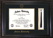Image of Auburn University Diploma Frame - Vintage Black Scoop - w/Embossed Seal & Name - Tassel Holder - Black on Gold mat