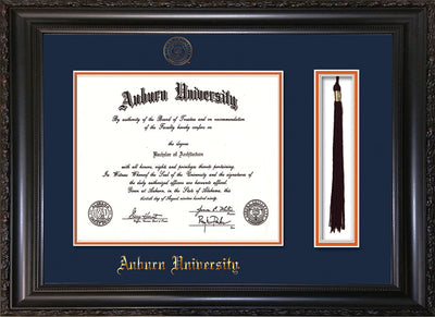 Image of Auburn University Diploma Frame - Vintage Black Scoop - w/Embossed Seal & Name - Tassel Holder - Navy on Orange mat