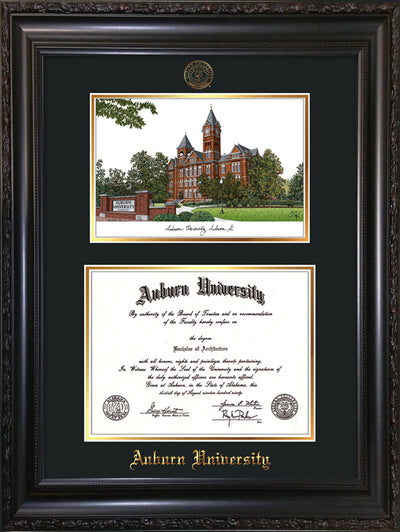 Image of Auburn University Diploma Frame - Vintage Black Scoop - w/Embossed Seal & Name - Campus Watercolor - Black on Gold mat