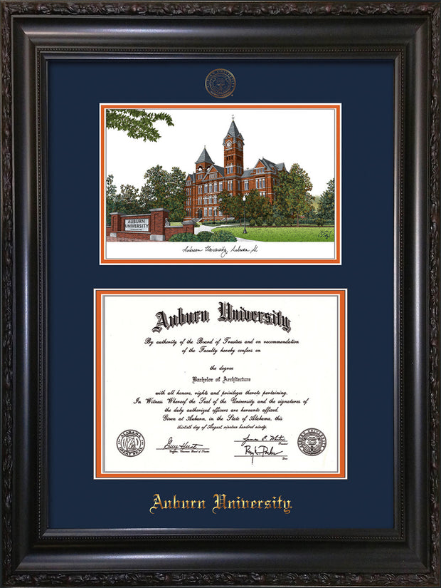 Image of Auburn University Diploma Frame - Vintage Black Scoop - w/Embossed Seal & Name - Campus Watercolor - Navy on Orange mat