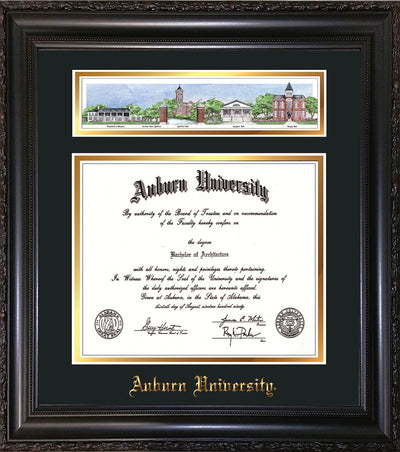 Image of Auburn University Diploma Frame - Vintage Black Scoop - w/Embossed School Name Only - Campus Collage - Black on Gold mat