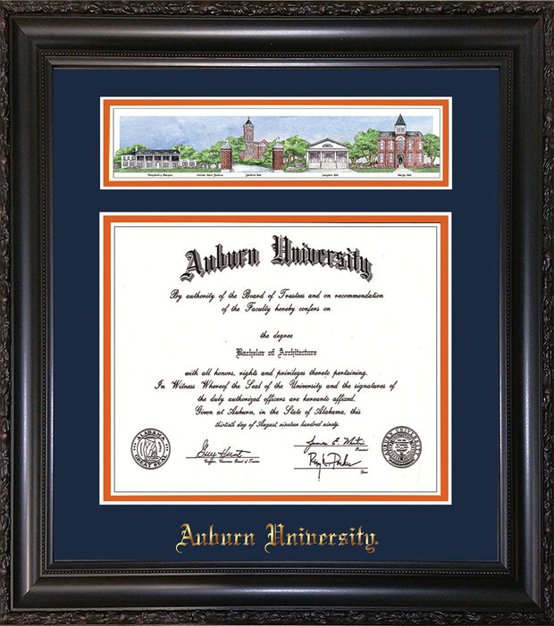 Image of Auburn University Diploma Frame - Vintage Black Scoop - w/Embossed School Name Only - Campus Collage - Navy on Orange mat