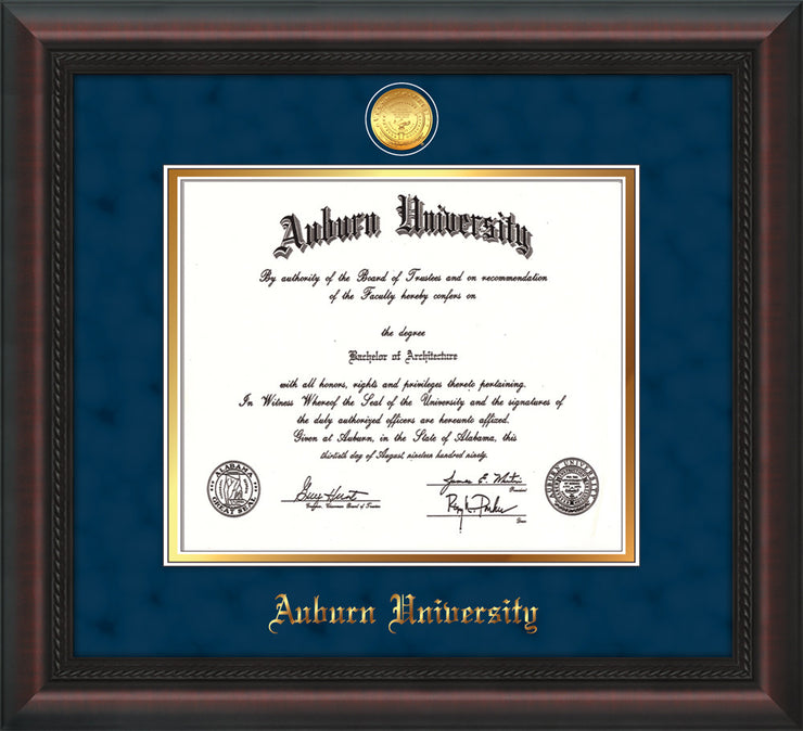 Image of Auburn University Diploma Frame - Mahogany Braid - w/24k Gold-plated Medallion - Navy Suede on Gold mat