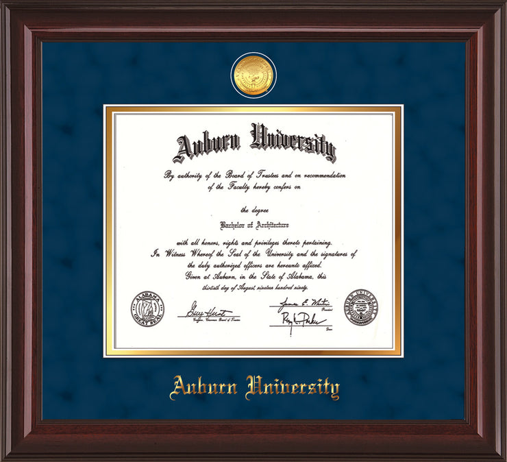Image of Auburn University Diploma Frame - Mahogany Lacquer - w/24k Gold-plated Medallion - Navy Suede on Gold mat