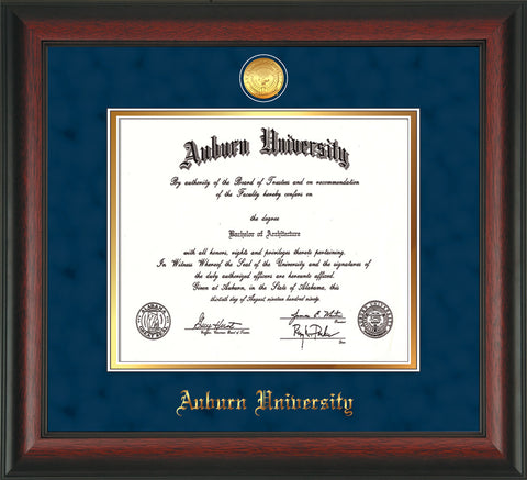 Image of Auburn University Diploma Frame - Rosewood - w/24k Gold-plated Medallion - Navy Suede on Gold mat