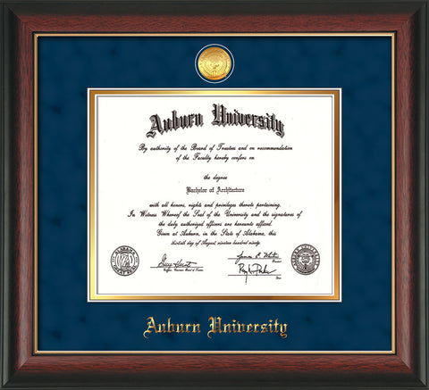 Image of Auburn University Diploma Frame - Rosewood w/Gold Lip - w/24k Gold-plated Medallion - Navy Suede on Gold mat