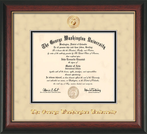 George Washington U Diploma Frame Rose Gold Lip Seal Cream