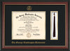 Image of George Washington University Diploma Frame - Rosewood w/Gold Lip - w/Embossed GWU Seal & Name - Tassel Holder - Black on Gold mat