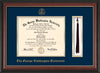 Image of George Washington University Diploma Frame - Rosewood w/Gold Lip - w/Embossed GWU Seal & Name - Tassel Holder - Navy on Gold mat