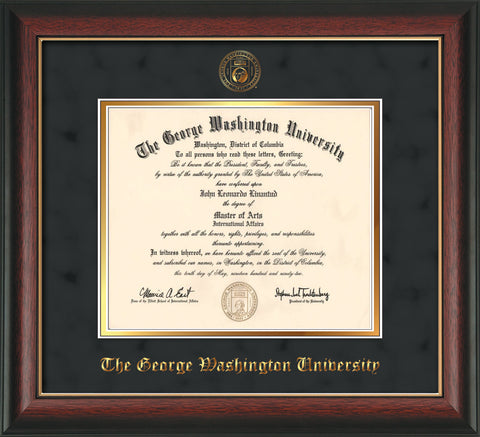 Image of George Washington University Diploma Frame - Rosewood w/Gold Lip - w/Embossed GW Seal & Name - Black Suede on Gold mat