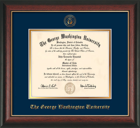 George Washington University Diploma Frame - Rosewood w/Gold Lip - w/Embossed GWU Seal & Name - Navy on Gold mat