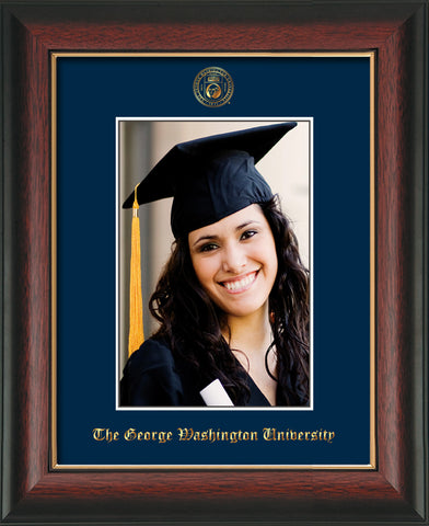 Image of George Washington University 5 x 7 Photo Frame - Rosewood w/Gold Lip - w/Official Embossing of GWU Seal & Name - Single Navy mat