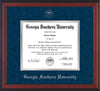 Image of Georgia Southern University Diploma Frame - Cherry Reverse - w/Silver Embossed Seal & Name - Navy Suede on Silver mat