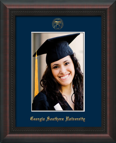 Image of Georgia Southern 5 x 7 Photo Frame - Mahogany Braid - w/Official Embossing of GSOU Seal & Name - Single Navy mat