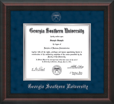 Image of Georgia Southern University Diploma Frame - Mahogany Braid - w/Silver Embossed Seal & Name - Navy Suede on Silver mat