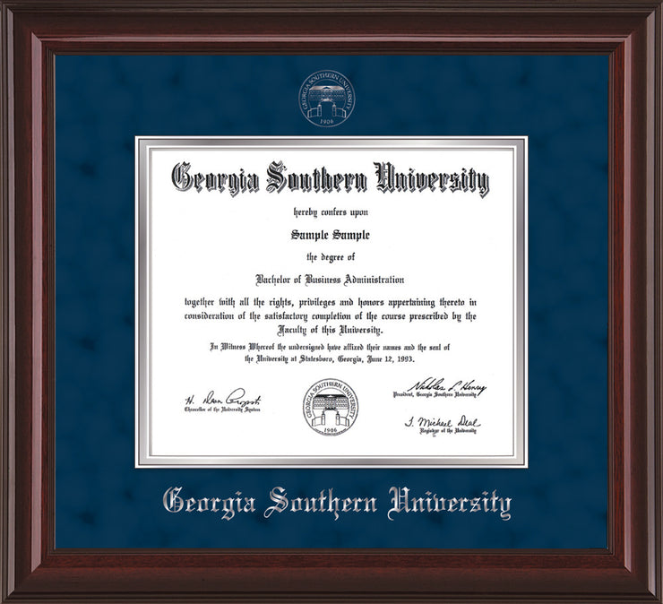 Image of Georgia Southern University Diploma Frame - Mahogany Lacquer - w/Silver Embossed Seal & Name - Navy Suede on Silver mat
