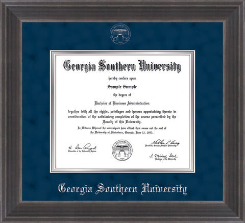 Image of Georgia Southern University Diploma Frame - Metro Antique Pewter Double - w/Silver Embossed Seal & Name - Navy Suede on Silver mat