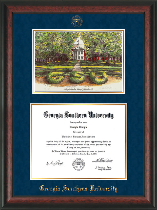 Image of Georgia Southern University Diploma Frame - Rosewood - w/Embossed Seal & Name - Watercolor - Navy Suede on Gold mat