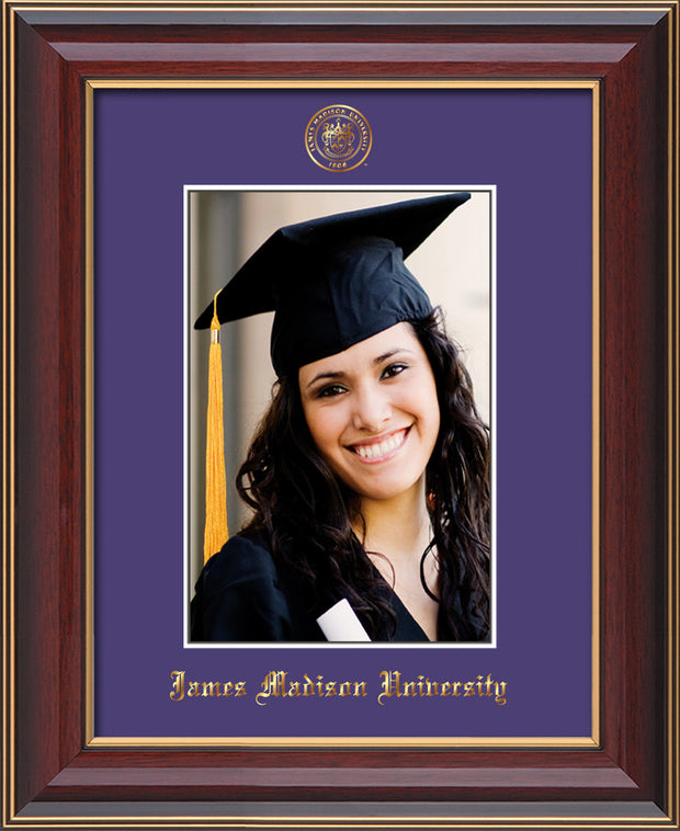 Image of James Madison University 5 x 7 Photo Frame - Cherry Lacquer - w/Official Embossing of JMU Seal & Name - Single Purple mat