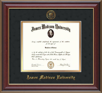 Image of James Madison University Diploma Frame - Cherry Lacquer - w/Embossed Seal & Name - Black Suede on Gold mat