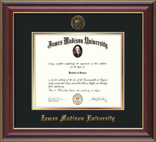 Image of James Madison University Diploma Frame - Cherry Lacquer - w/Embossed Seal & Name - Black on Gold mat