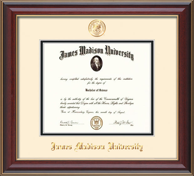 Image of James Madison University Diploma Frame - Cherry Lacquer - w/Embossed Seal & Name - Cream on Black mat