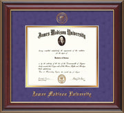 Image of James Madison University Diploma Frame - Cherry Lacquer - w/Embossed Seal & Name - Purple Suede on Gold mat