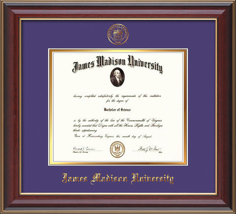 Image of James Madison University Diploma Frame - Cherry Lacquer - w/Embossed Seal & Name - Purple on Gold mat