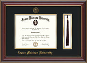 Image of James Madison University Diploma Frame - Cherry Lacquer - w/Embossed Seal & Name - Tassel Holder - Black on Gold mat