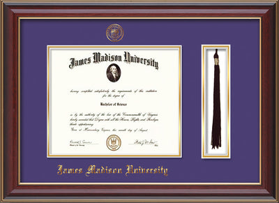 Image of James Madison University Diploma Frame - Cherry Lacquer - w/Embossed Seal & Name - Tassel Holder - Purple on Gold mat