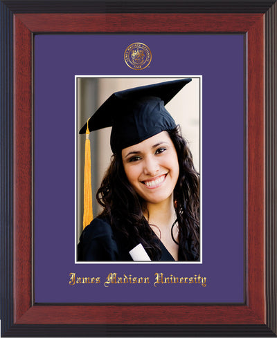 Image of James Madison University 5 x 7 Photo Frame - Cherry Reverse - w/Official Embossing of JMU Seal & Name - Single Purple mat