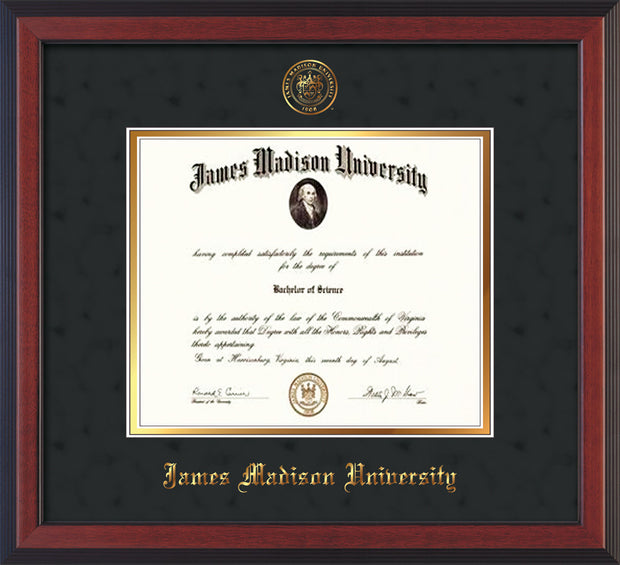 Image of James Madison University Diploma Frame - Cherry Reverse - w/Embossed Seal & Name - Black Suede on Gold mat