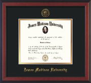 Image of James Madison University Diploma Frame - Cherry Reverse - w/Embossed Seal & Name - Black on Gold mat
