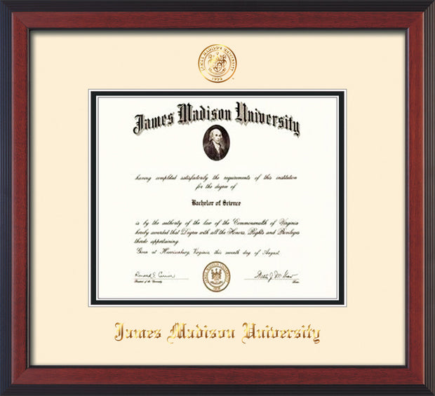 Image of James Madison University Diploma Frame - Cherry Reverse - w/Embossed Seal & Name - Cream on Black mat