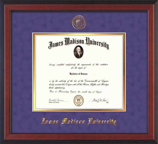 Image of ames Madison University Diploma Frame - Cherry Reverse - w/Embossed Seal & Name - Purple Suede on Gold mat