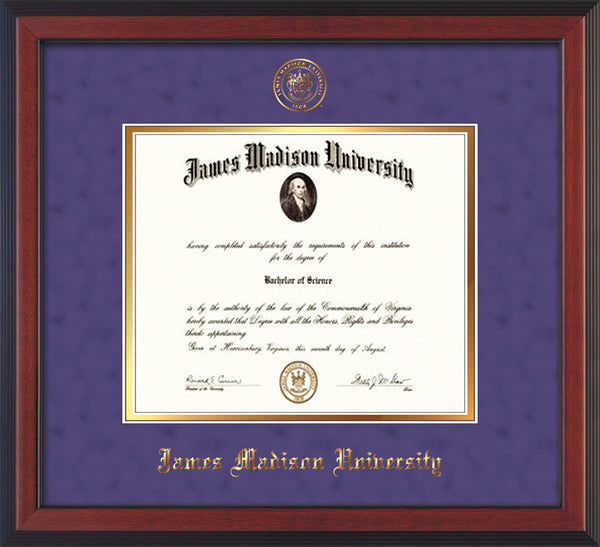 James Madison U Diploma Frame C Reverse Seal Purple