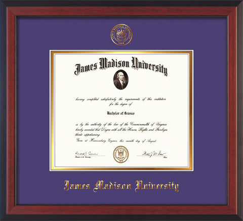 Image of James Madison University Diploma Frame - Cherry Reverse - w/Embossed Seal & Name - Purple on Gold mat