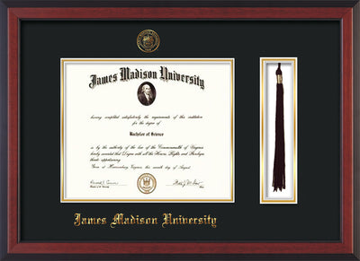 Image of James Madison University Diploma Frame - Cherry Reverse - w/Embossed Seal & Name - Tassel Holder - Black on Gold mat